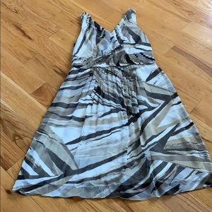 BR Midi Abstract Print Dress Pleated Waist